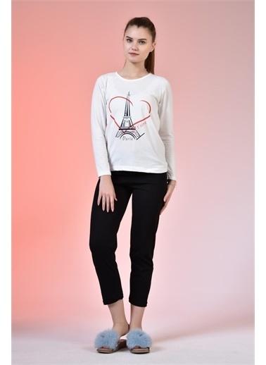 Rodi Jeans Kadın Baskılı Penye Pijama Takımı TY20YB661750 Krem